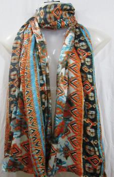 polyester twill flower printed scarf women beach pareos