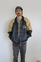 Guess Leather Varsity Jacket Mens Large