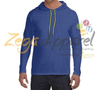 Zega Apparel NEW 100% cotton hooded vest blank long sleeve t shirt for man