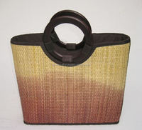 High quality best selling two tones bamboo handbag with leather handle from vietnam