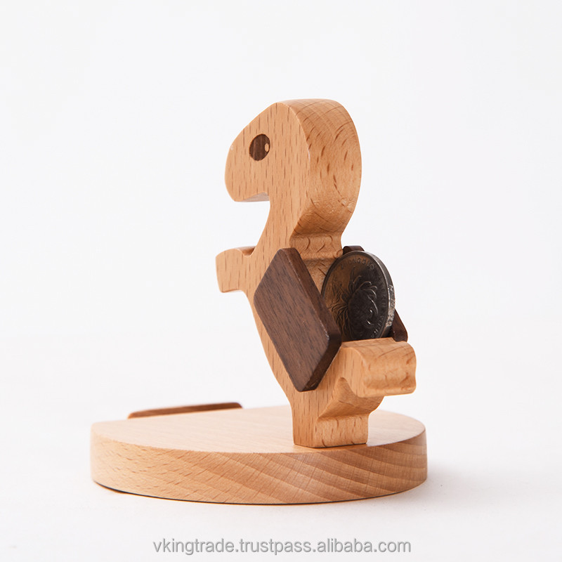Vking Creative Wooden Square deck chair mobile phone holder with Cartoon Character Office