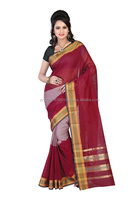 Cotton Bazaar Daily Wear Maroon Cotton Saree/Sari