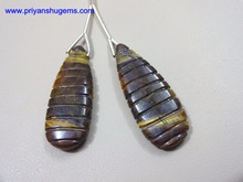 Yellow Tiger Eye 13*34 Long Pear with carving, Pair 100% Natural gemstones AAA Quality product Hand made in India