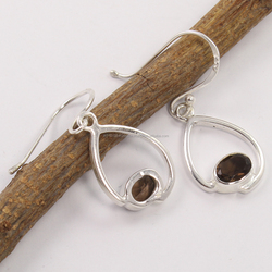 Fine Earrings Natural SMOKY QUARTZ 5x7 Oval Gemstone 925 Silver Stylish Earrings 3.3 Grams 1 1/4 Inches Wholesale Jewellery