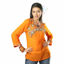 Wholesale Designer Cotton Fashion printed women tops blouses