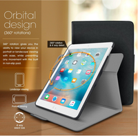 Top Quality roocase ORB 360 Rotating Folio Leather Cover Sleep/Wake Feature for iPad Mini 3, 2, 1 case Wholesale (Black)