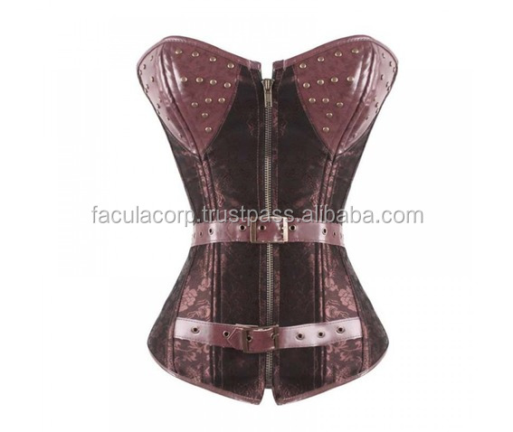 2016 BROWN STEAMPUNK CORSET WITH STUDS WOMENS GOTHIC BLACK COLOR CORSET SEXY COSTUMES FC-3529