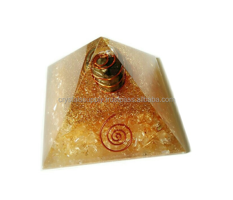 Orgone Yellow Pyramid With Hematite Tumble Stone & Copper Layered : Wholesale Orgone Pyramids : Wholesale New Orgonite Products