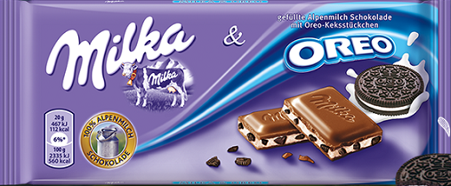 Milka Oreo,Caramel and whole hazelnuts 100g,250g and 300g In all Texts