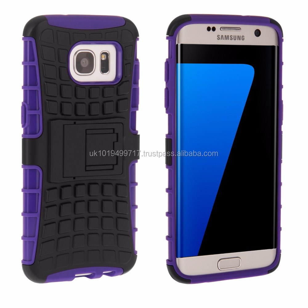 Tough Stand Hard Case for Samsung Galaxy S7 Purple Edge