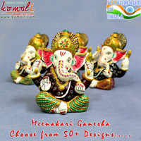 Large Meenakari white metal multi color Ganesh gifts favors murti