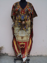 Cotton Fabric Type and Adults Age Group V Neck Digital Printed Tunic kaftan dress