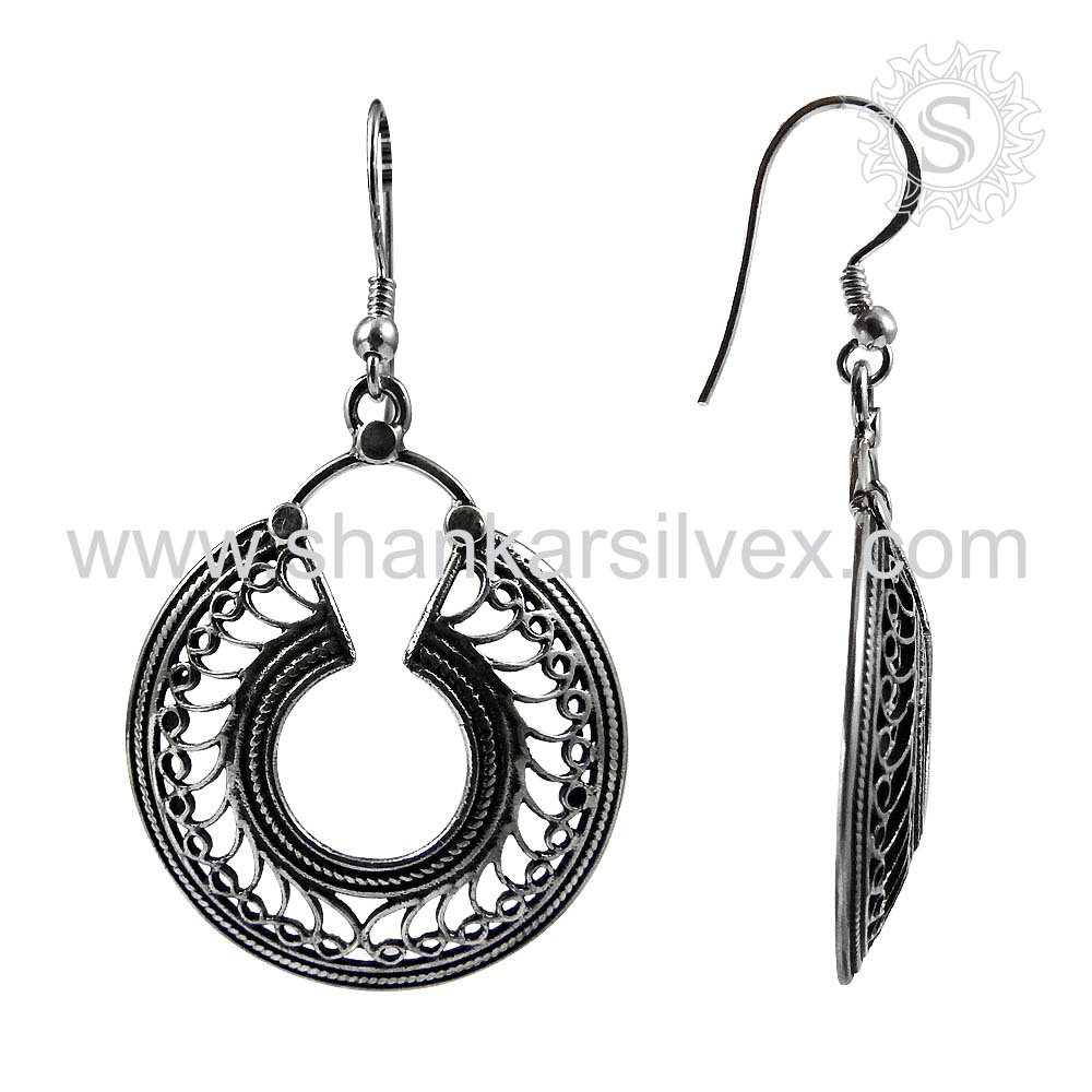 NEW Fashion Hanging Silver Jewelry Plain Silver Earring Wholesale Indian Silver Jewelry