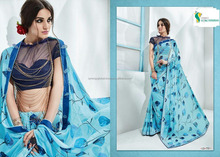 Plain georgette crepe sarees for daily wear - Indian sarees wholesale online - Surat sarees online