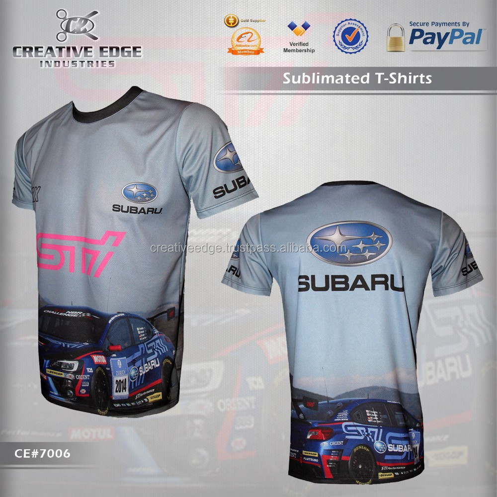 Subaru Wrx Sti Full Sublimation T-Shirt / Wholesale Sublimation Custom T Shirts / Car Racing Training Sublimation Tee Shirts