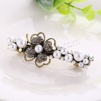 Hair Barrettes Zinc Alloy Four Leaf Clover antique gold color plated with glass pearl & with rhinestone nickel lead & cadmium f