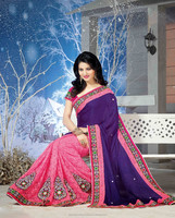 Classic Deep Pink, Deep Purple color Saree