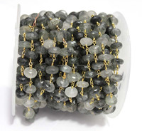 Black Rutile 6mm Roundel Faceted Beaded Gold Plated 925 Sterling Silver Chain