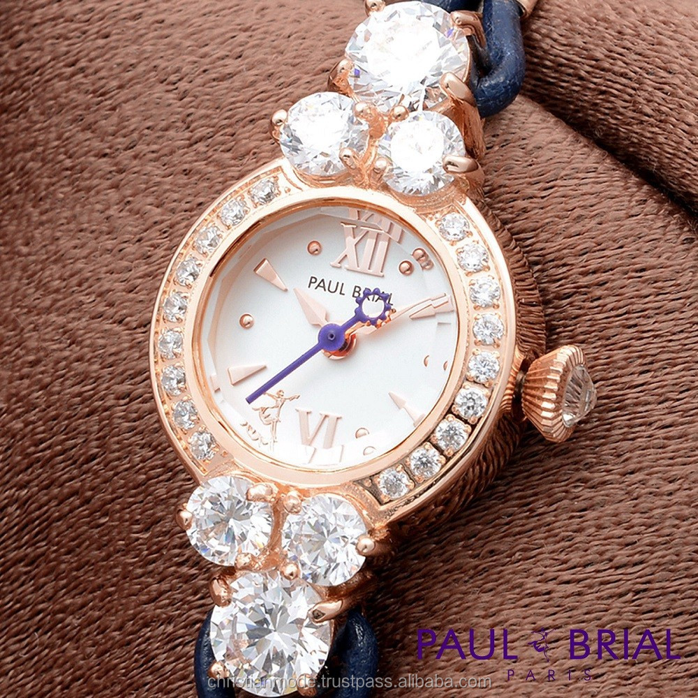 Lady Bracelet Dress Women Luxury Brand 12 Cutting Glass Round Brass Case Blue Strap Water Resistant Paul Brial Watch Korea Made