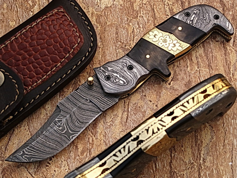 Damascus Steel Folding Knife by York Vivant Company YV-NA4 Buffalo Horn, Damascus with Antique Hand Work on Brass Handle
