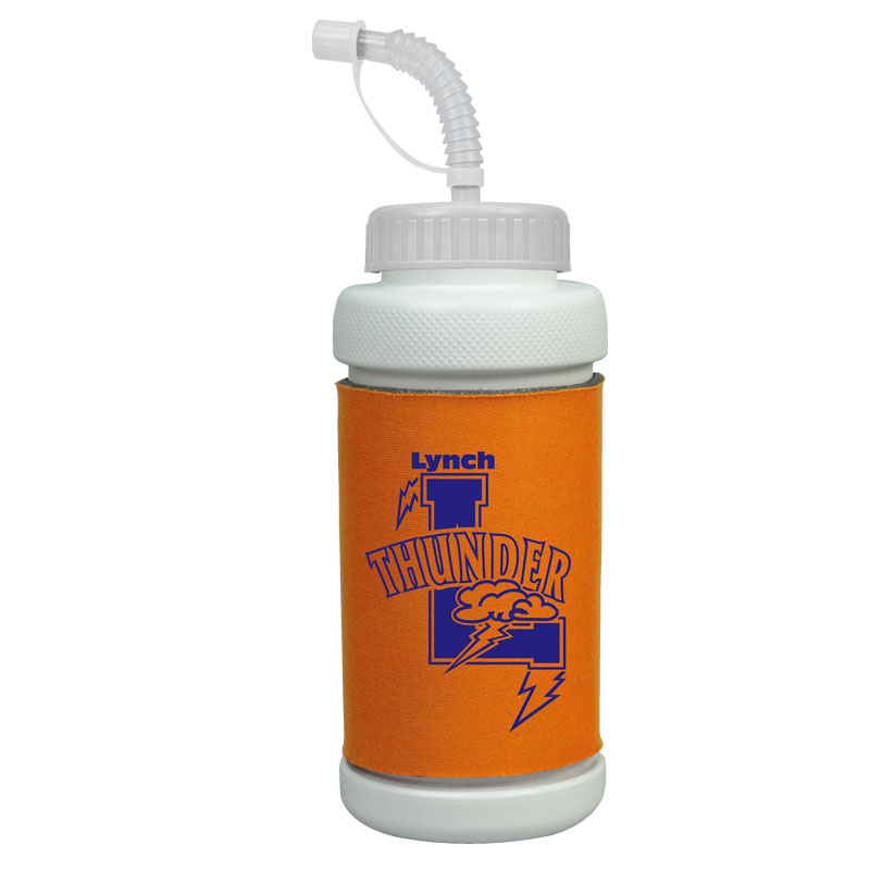 USA Made 34 oz Foam Insulated Bottle Straw Lid- features fabric/foam insulator and comes with your logo