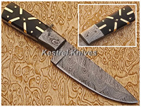 Kestrel Boysen Berry Custom Handmade Damascus Steel Full Tang Hunting Knife.