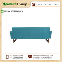 Standardize Wooden Material Made Leather Upholstered Sofa with Natural Polish