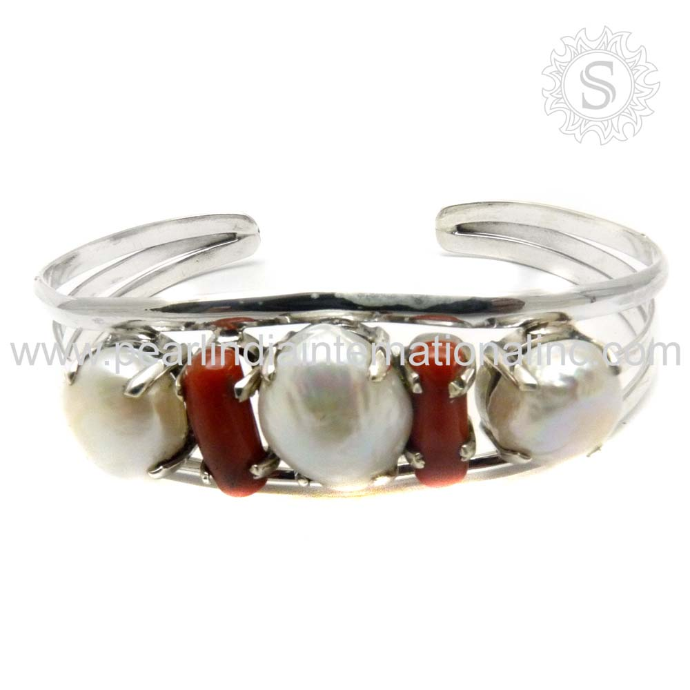 New Design Pearl, Coral Perfectly 925 Sterling Silver Jewelry Handmade Silver Bangle Wholesale Solid Silver Jewellery Supplier