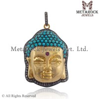 Religious Diamond Pave 14k Yellow Gold Plated 925 Sterling Silver Turquoise Gemstone Buddha Pendant