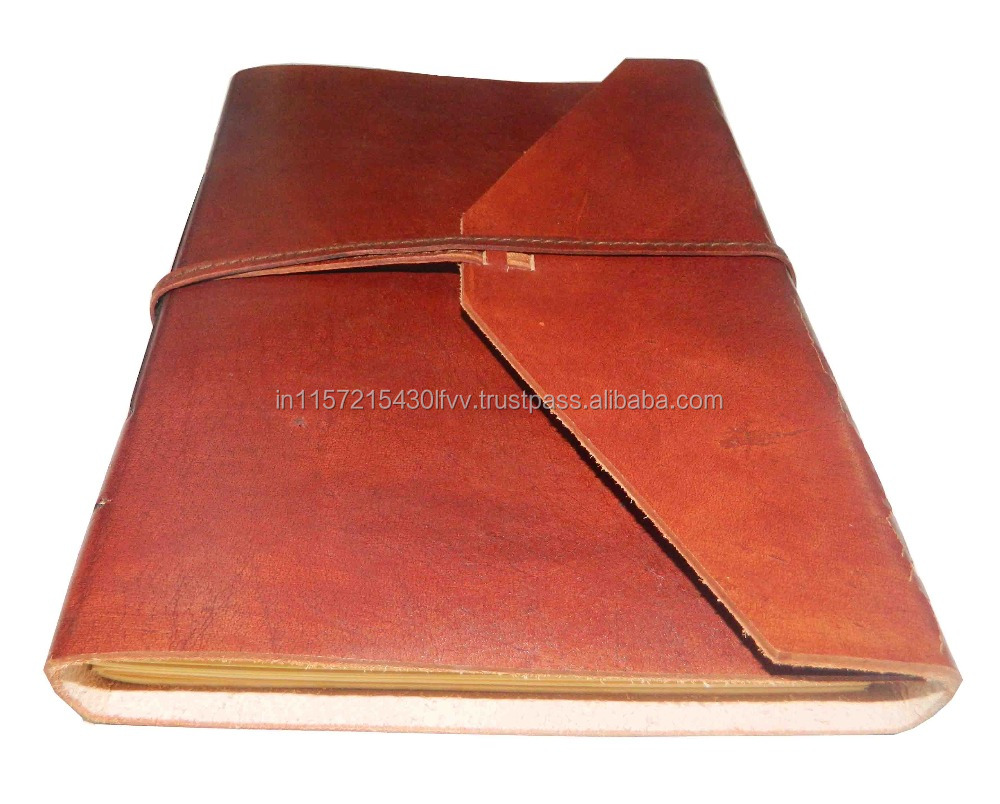 HANDMADE LEATHER JOURNAL PLAIN FLAP STYLE WITH LEATHER STRING PLAIN MACHINE MADE PAPER