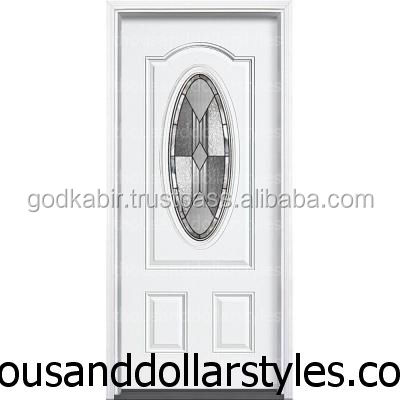 Multi design Popular Solid Steel Use 36 in. x 80 in. Bungalow 3/4 Oval Lite Primed Steel Prehung Front Door with Brickmould.