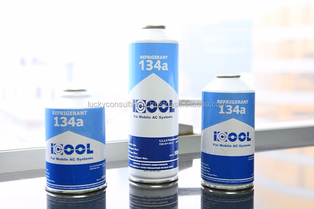 Pure R134a Refrigerant in alu disposable cans 1000g