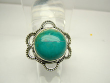 Tibetan Turquoise Cabochon Gemstone Oxidized Sterling Silver Ring, Designer Nepali Handmade Ring, Indian Silver 925 Ring