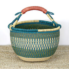 High quality best selling handmade market basket with leather handles from Vietnam