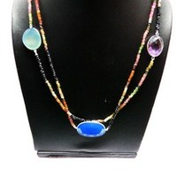 Love And Friendship !! Multi Stone 925 Sterling Silver Necklace, Sterling Silver Jewelry, 925 Gemstone Necklaces