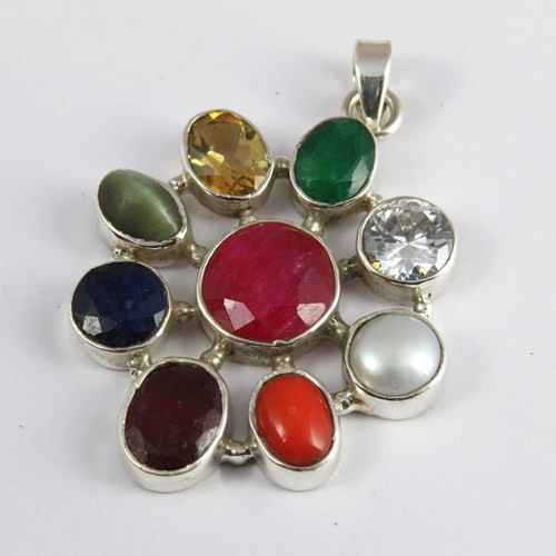 Great Lot !! Multigem 925 Sterling Silver Pendant, Gemstone Silver Jewelry, Handmade Silver Jewelry
