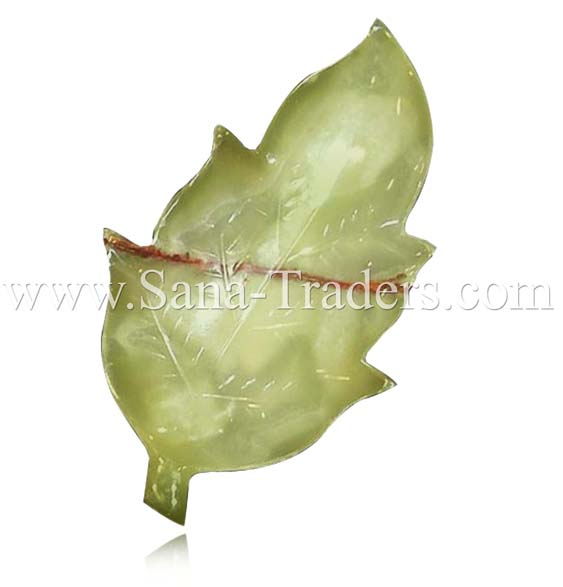 Natural Marble Onyx Designed Marble Leaf Tray (3 Piece set) Light Green.