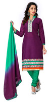 Women's Unstitched Purple & Green Colour Churidar Style Daily Wear Cotton Salwar Kameez