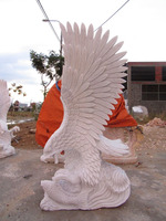 White stone eagle statue marble hand carved sculpture from Vietnam
