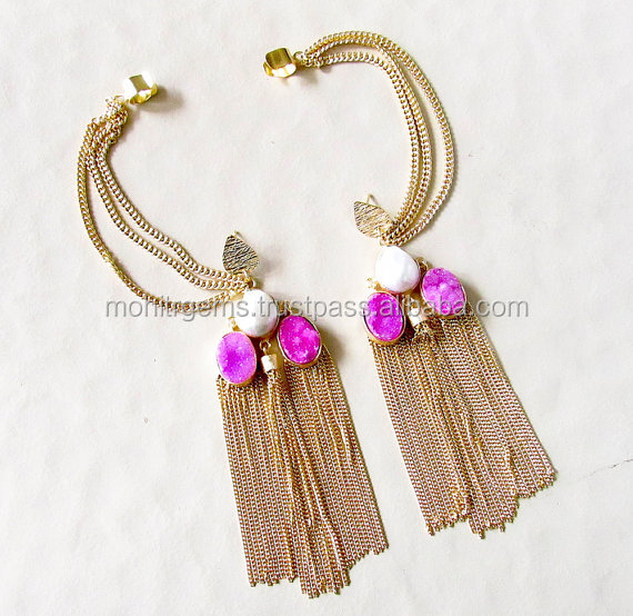 Druzy Earrings with 3 Chain Tassels, Pearls and attached Chain Ear Cuffs