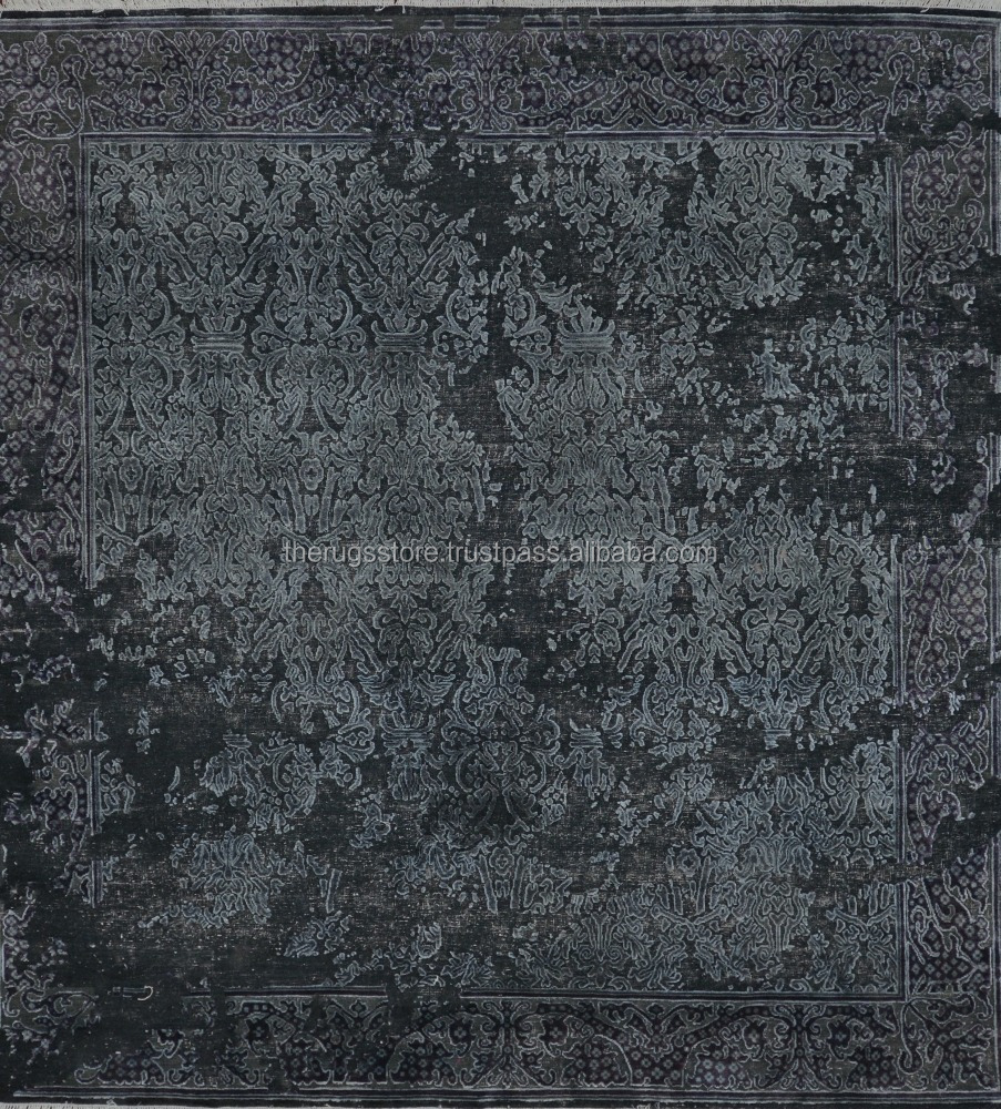 Hand Knotted Charcoal Black Color Modern Erased Design Square 8x8 Wool And Silk Blend Area Rugs O-110