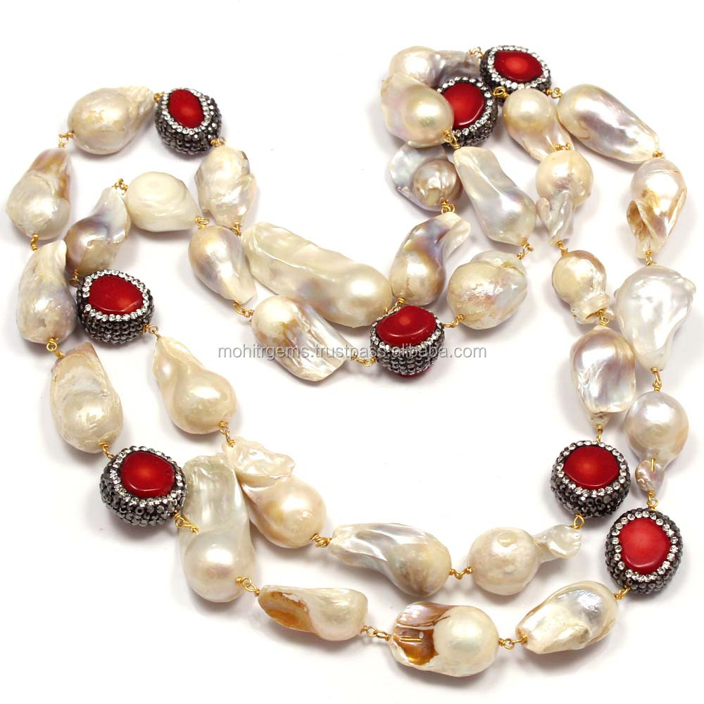 "36"" Inch Long Coral With Blister Oyster Pearl Endless Long Beaded Jewelry Necklace"