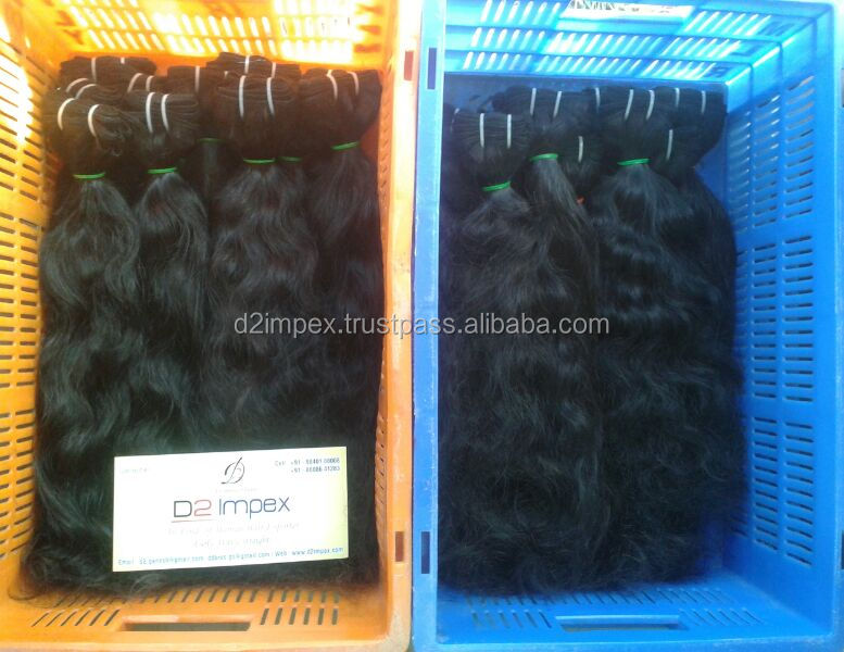 "High Quality Human Hair Extensions Machine Weft Wavy 10"" - 32"" Inch Indian Wavy Hair"
