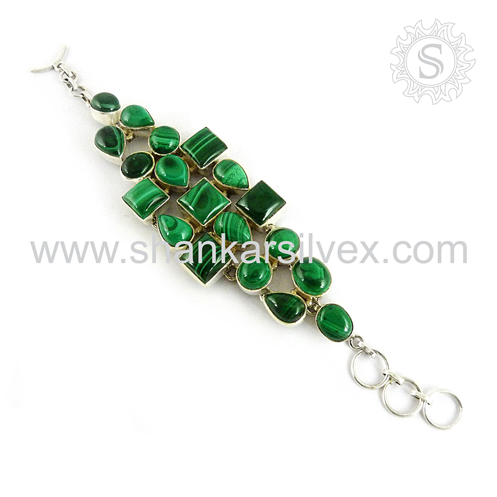 Celebrity Style Green Malachite Bracelet Sterling Silver Jewelry Wholesale Silver Jewelry