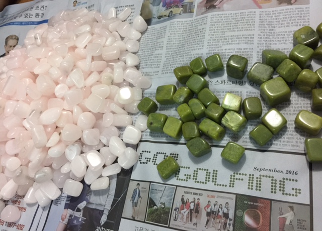 Tumbles of Yellow green Jade and Pink Onyx