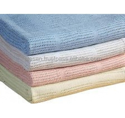 hot sales100% cotton baby cellular blankets