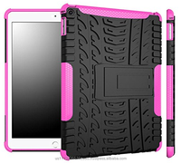 Hybrid D8 Heavy Duty Dual Layer Armor Protective Shockproof Anti-Scratch Rugged Stand Case for iPad Air 2 (magenta)
