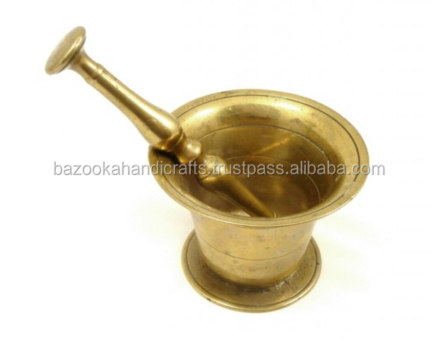 Mortar and Pestle, Large Brass Mortar and Pestle, Shiny Polished Mortar And Pestle