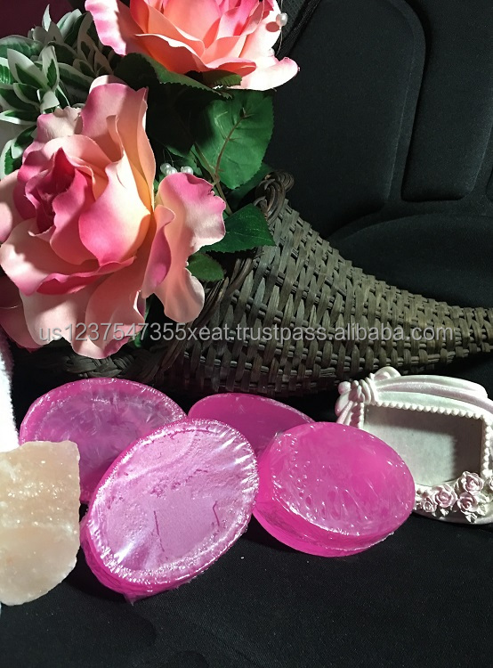 """Emily"" Neon Pink Handmade Transparent Soap Floral, Clean Fragrance"