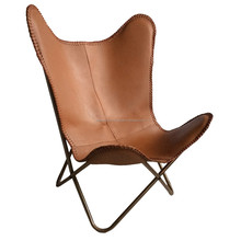 Metal Butterfly Chair for Outdoor Garden With folding Frame Iron Chair With Brown Original Leather
